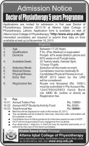 Allama Iqbal College of Physiotherapy Admission Notice 2013