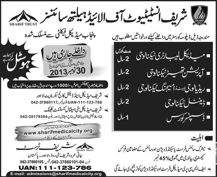 Sharif Institute of Allied Health Sciences Admission Notice 2013