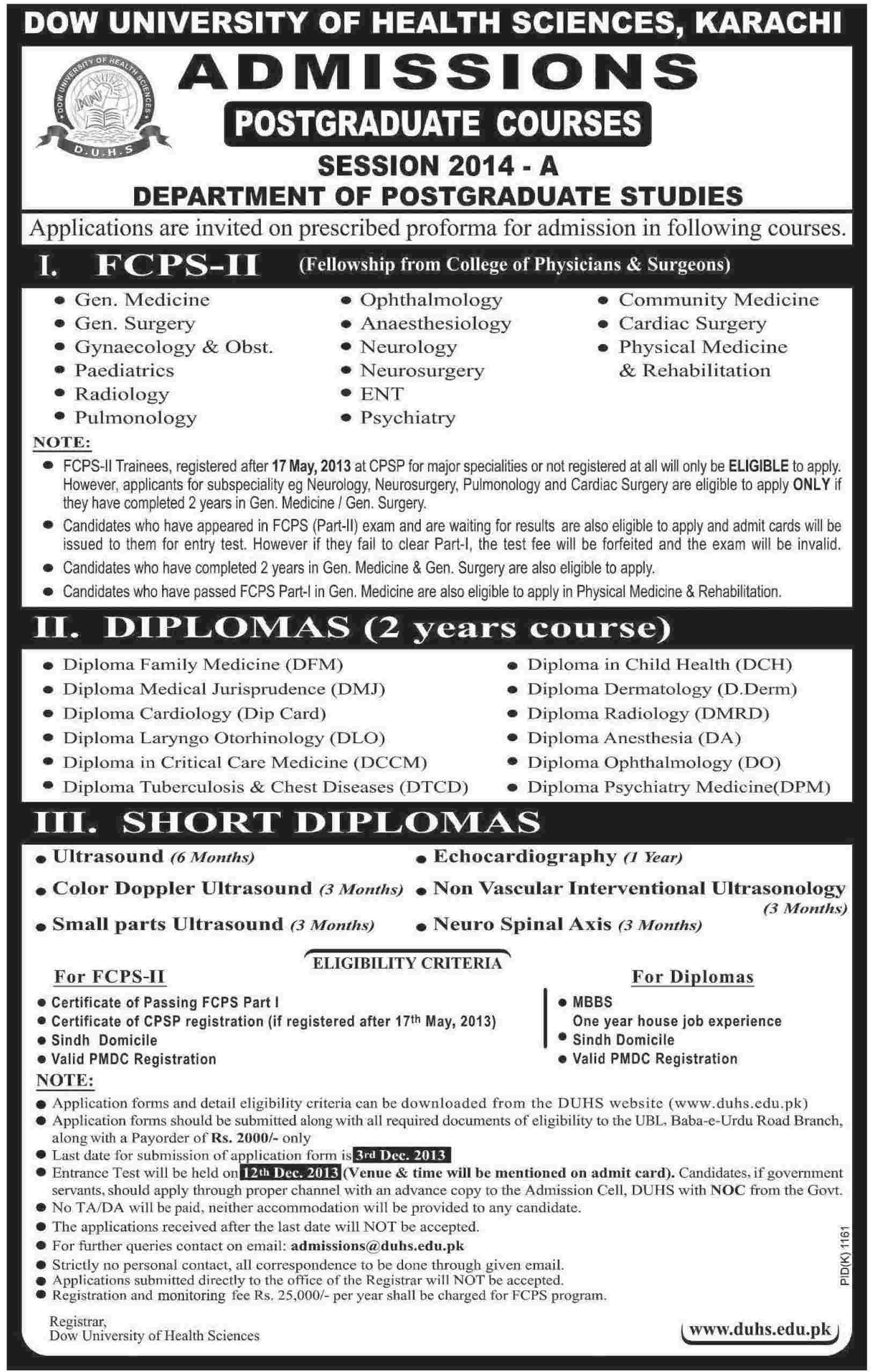 Dow University of Health Sciences (DUHS) Karachi Admission Notice 2013 for For FCPS-II , Diploma & Short Diploma Courses