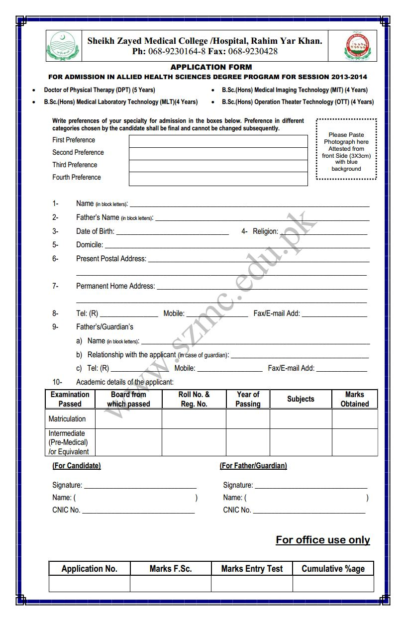 Shaikh Zayed Medical College Application Form for B.Sc. (Hons) Allied health Sciences