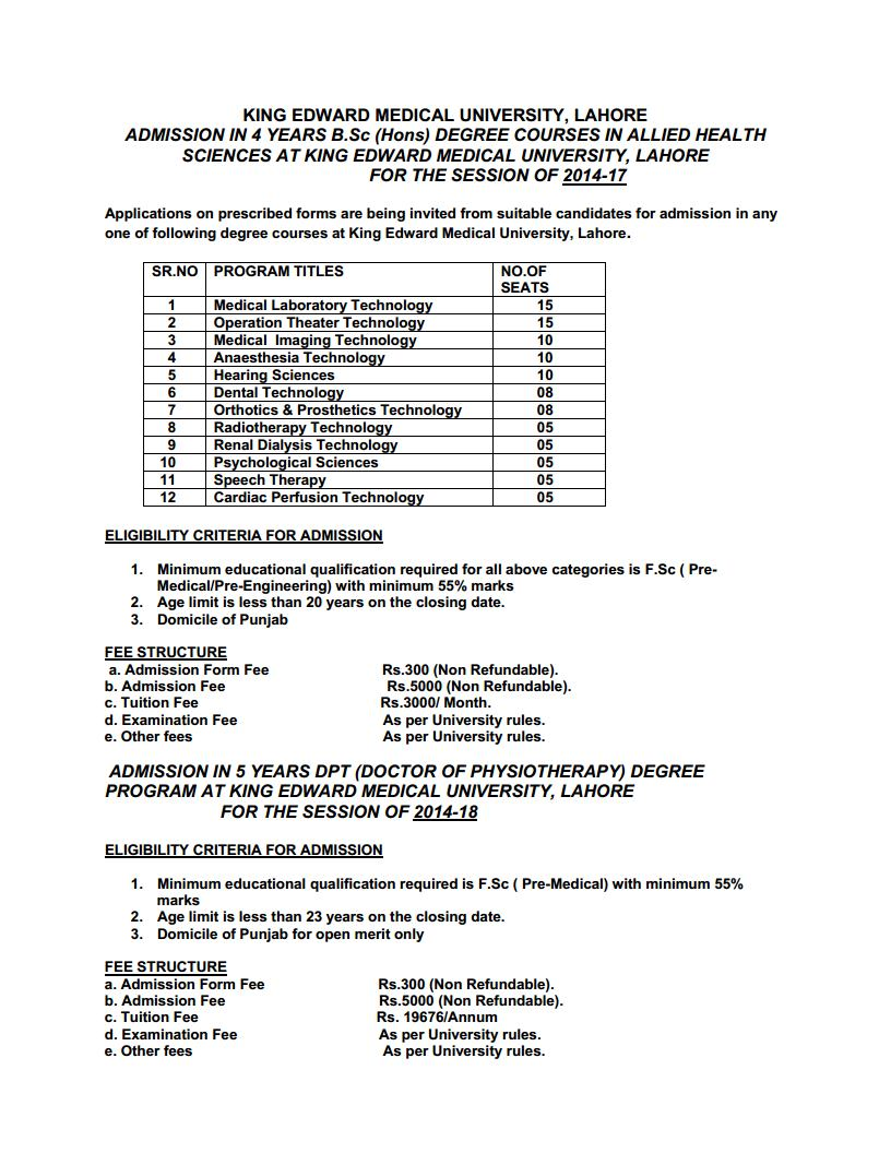King Edward Medical University KEMU Lahore Admission Notice 2013 for Doctor of Physical Therapy (DPT) & B.Sc. Hons. Allied Health Sciences programs