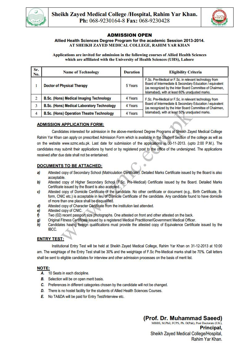 Shaikh Zayed Medical College Rahim Yar Khan Admission Notice 2013 for Medical Laboratory Technology Operation Theater Technology Medical Imaging Technology Doctor of Physical Therapy (DPT