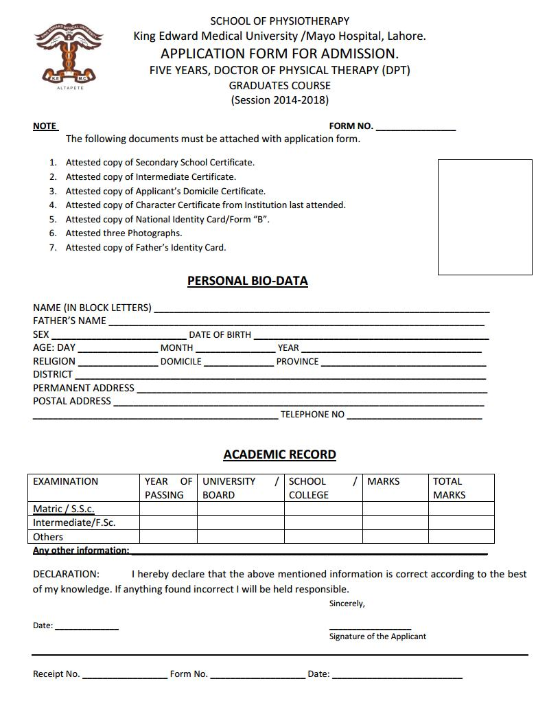 King Edward Medical University, Lahore Application Form for Admission in Five Years, Doctor of Physical Therapy (DPT)