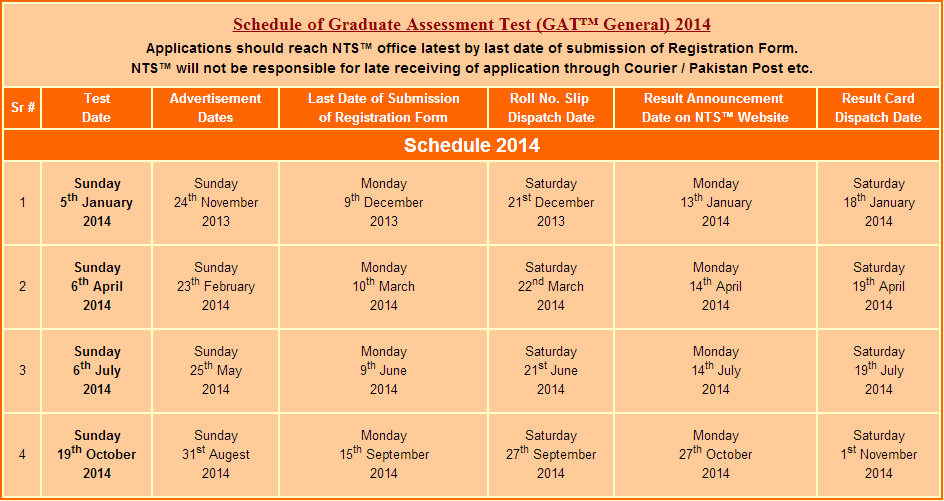 NTS GAT (Graduate Assessment Test) Test Schedule 2014