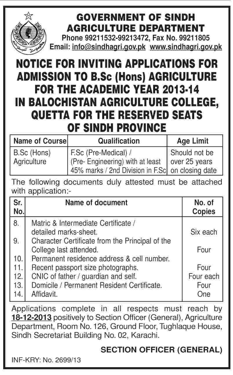 Government of Sindh Agriculture Department Admission Notice 2013 for B.Sc. (Hons.) Agriculture