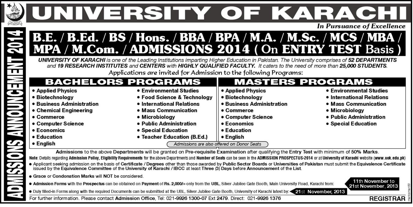 Karachi: University of Karachi UOK Admission Notice for Bachelor's & Master's Programs.