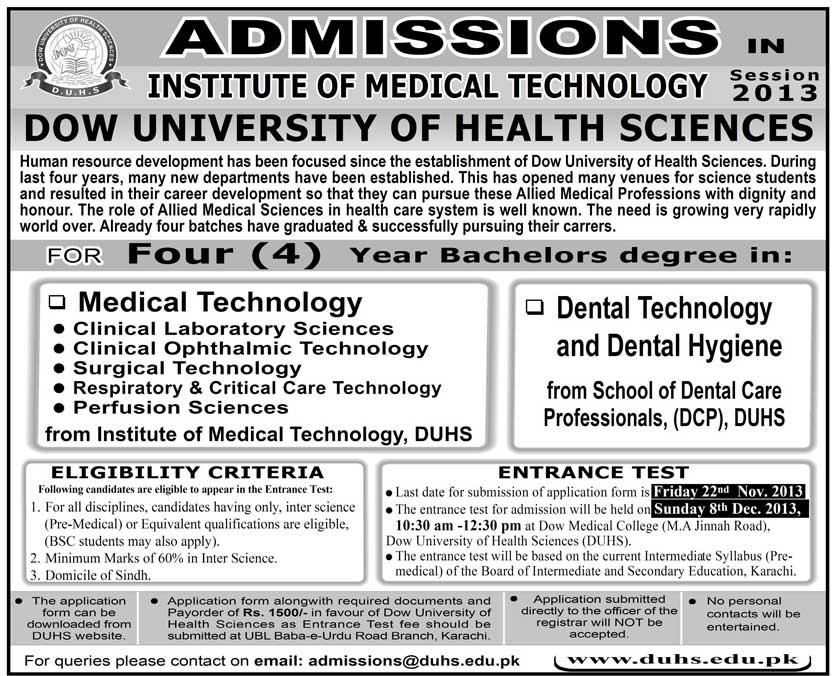 Dow University of Health Sciences Admission Notice 2013