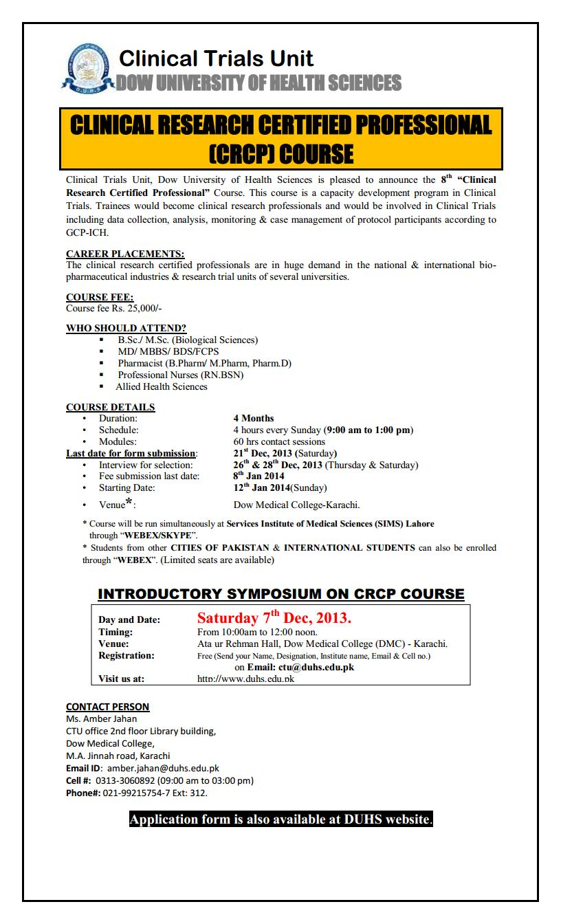 Dow University of Health Sciences Clinical Trials Unit Admission Notice 2013