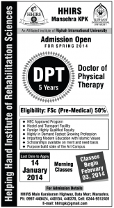 Helping Hand Institute Of Rehabilitation Sciences Mansehra Admission 2013 for Doctor of Physical Therapy (DPT)