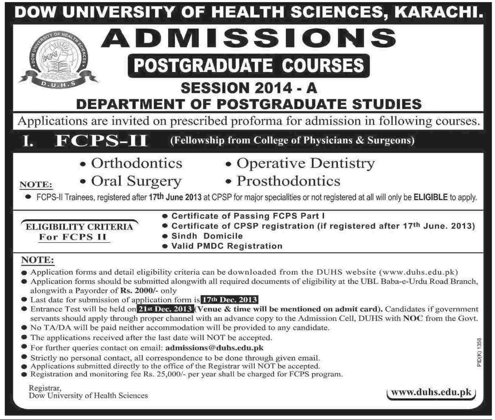 Dow University of Health Sciences (DUHS) Karachi Admission Notice 2013