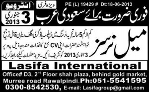 Male Nurse Jobs in Saudi Arabia 2013