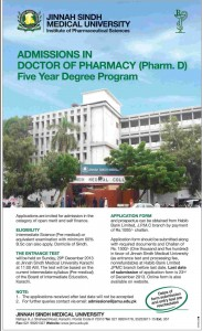 Jinnah Sindh Medical University Karachi Admission Notice 2013
