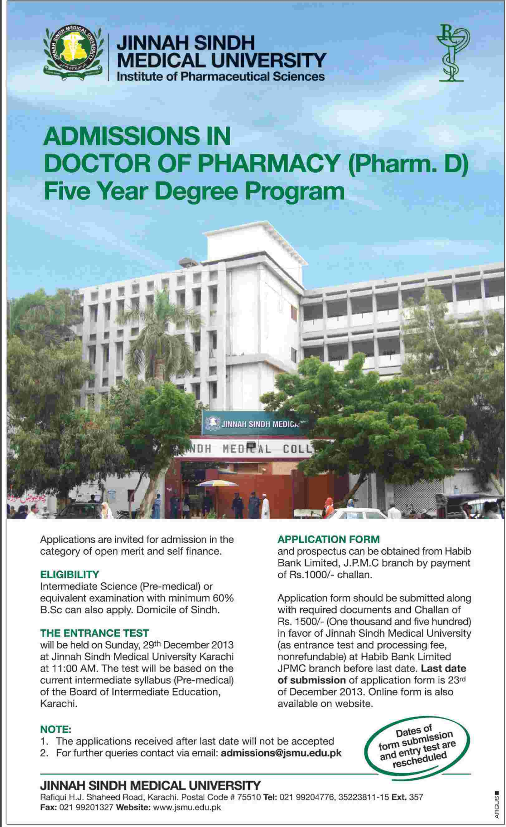 Karachi: Jinnah Sindh Medical University (JSMU) Admission Notice 2013 for Doctor of Pharmacy (Pharm-D)