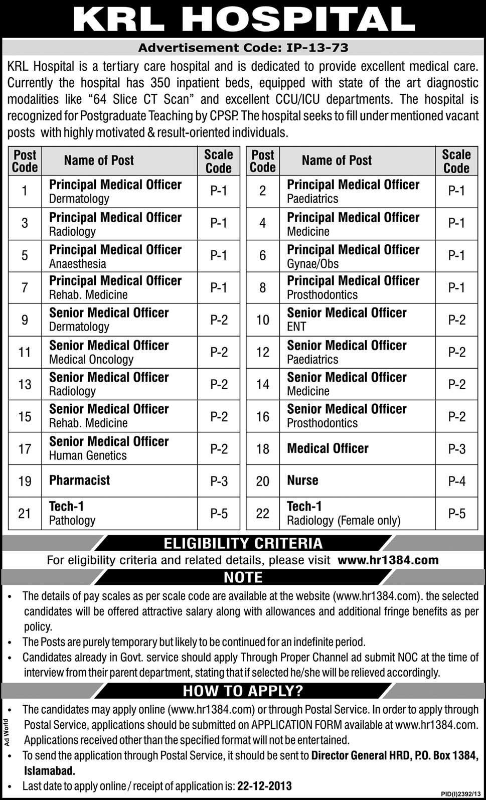 medical officer , senior medical officer , nurse , pharmacist , technician jobs at KRL Hospital Islamabad