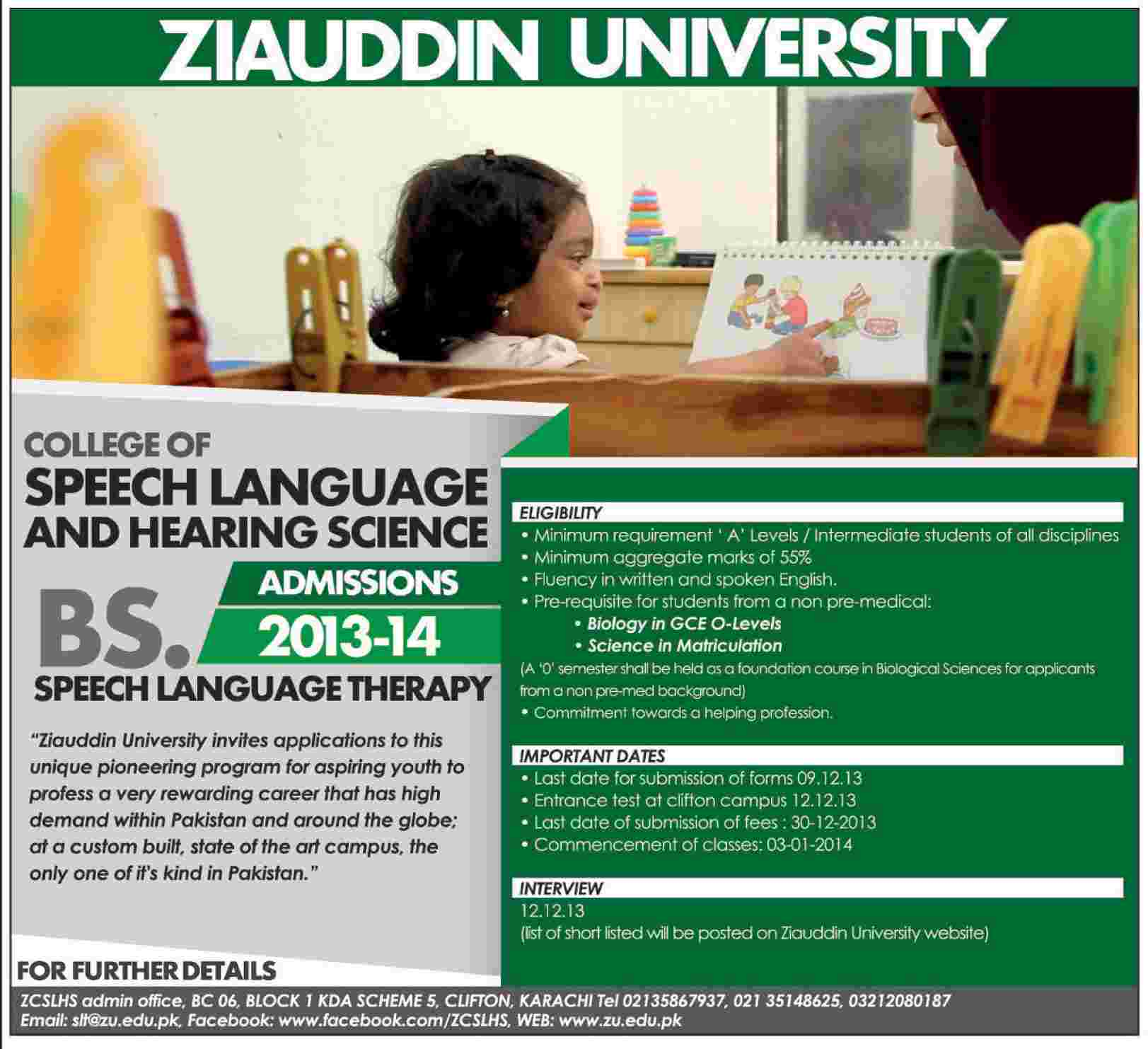 Karachi: College of Speech Language & Hearing Science , Ziauddin University (ZU) Karachi Admission Notice 2013 for BS in Speech Language Therapy (SLT)