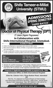 Shifa Tameer-e-Millat University Doctor of Physical Therapy (DPT) Admission 2014