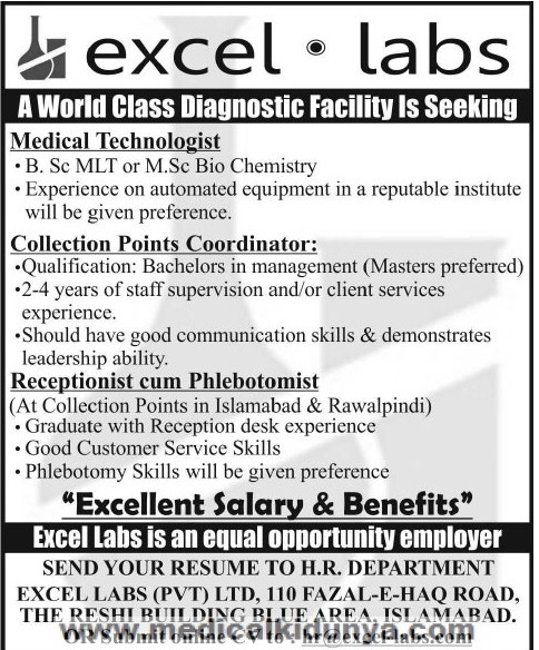 Medical Laboratory Technologist Jobs in Excel Labs