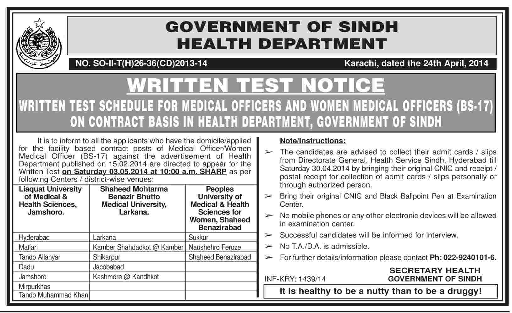 Medical Officers & Women Medical Officers Jobs in Health Department Sindh Karachi