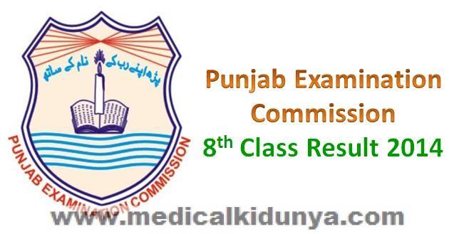 Punjab Examination Commission PEC Lahore Board Grade 8 Class 8 Grade VIII Class VIII Result 2014
