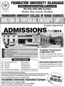 Foundation University College of Rehab Sciences Islamabad Admission Notice 2014