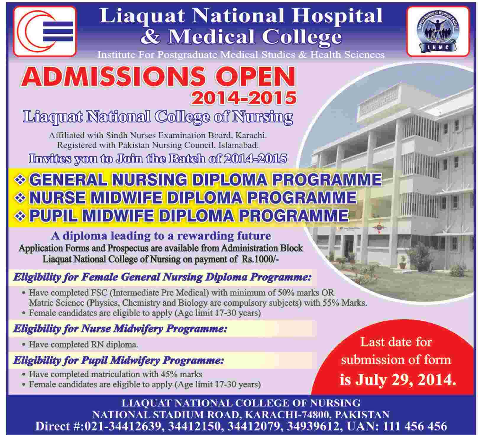 Liaquat National College of Nursing Karachi Admission Notice 2014 for General Nursing Diploma, Nurse Midwife Diploma, Pupil Midwife Diploma