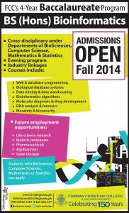 Forman Christian FC College Lahore Admission Notice 2014 for B.Sc. (Hons.) Bioinformatics