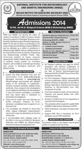 NIBGE & NIAB Faisalabad Admission Notice 2014