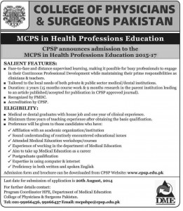 CPSP Admission Notice for MCPS in Health Professions Education 2015