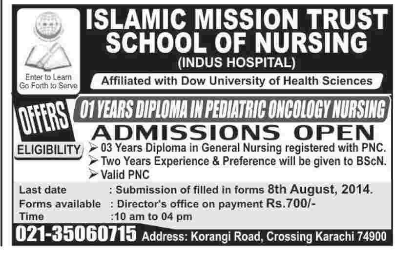 Islamic Mission Trust School of Nursing Admission Notice 2014