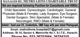 Surgeons & Specialists Jobs in Metro Lions Hospital Karachi