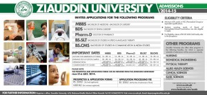 Ziauddin University Karachi Admission Notice 2014