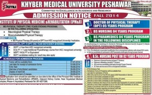 Khyber Medical University Peshawar Admission Notice 2014