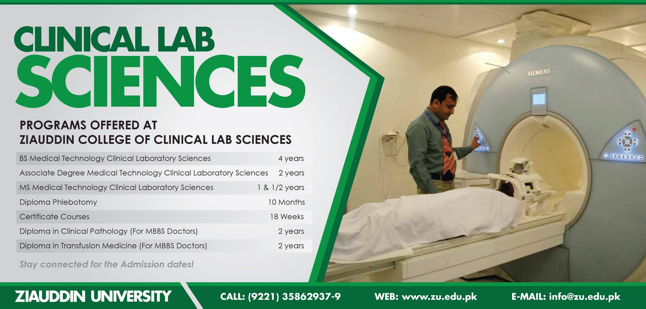 Ziauddin College of Clinical Lab Sciences Admission Notice 2014