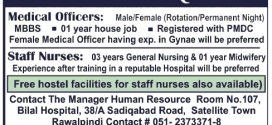 Medical Officers Jobs in Bilal Hospital Rawalpindi