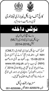 College of Medical Laboratory Technology (CMLT), National Institute of Health (NIH) Islamabad Admission Notice 2014 for Fsc HSSC Medical Laboratory Technology (MLT) Session 2014-2016