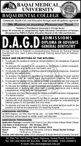 Baqai Medical University, Baqai Dental College Karachi Admission Notice 2014-2015 for Diploma in Advance General Dentistry (DAGD)