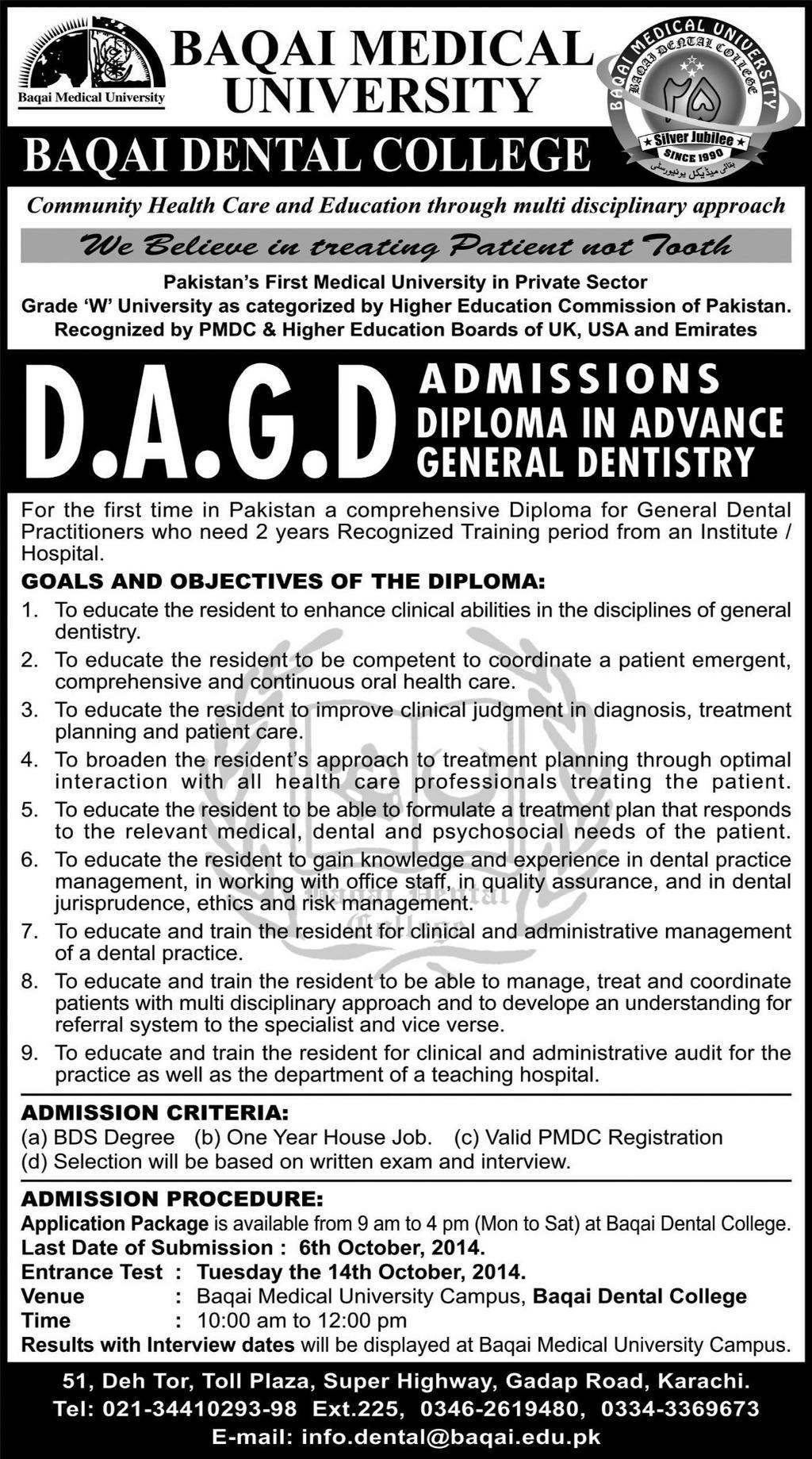 Baqai Medical University, Baqai Dental College Karachi Admission Notice 2014-2015 for Diploma in Advance General Dentistry (DAGD)