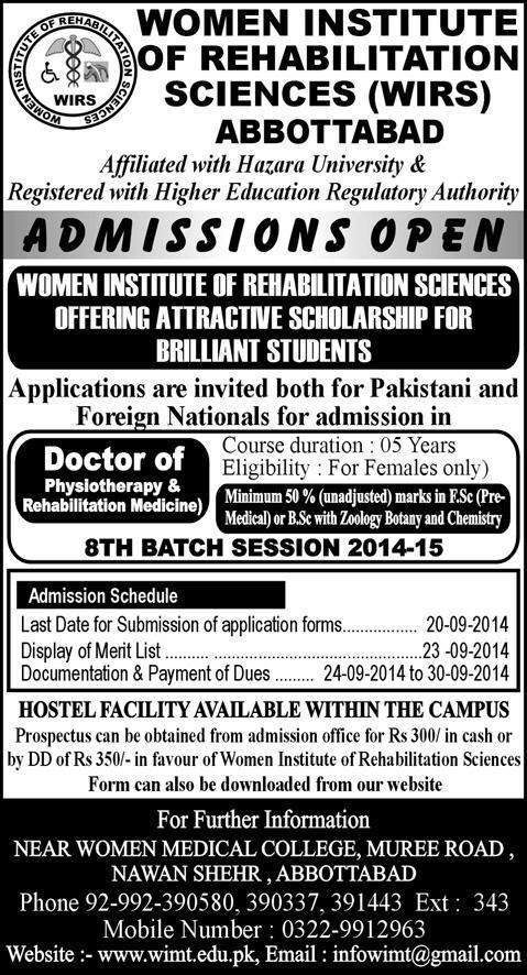 Women Institute of Rehabilitation Sciences (WIRS) Abbottabad Admission Notice for Doctor of Physical Therapy (DPT) 2014