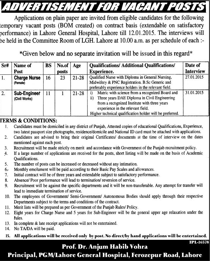 Charge Nurse Jobs in Lahore General Hospital (LGH) Lahore