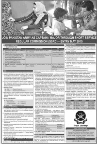 Join Pakistan Army As Captain / Major Through Short Service Regular Commission (SSRC) Entry May 2015