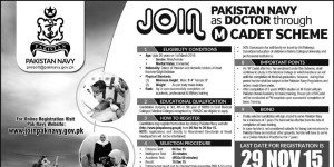 Join Pakistan Navy as Doctor Through M Cadet Scheme 2015