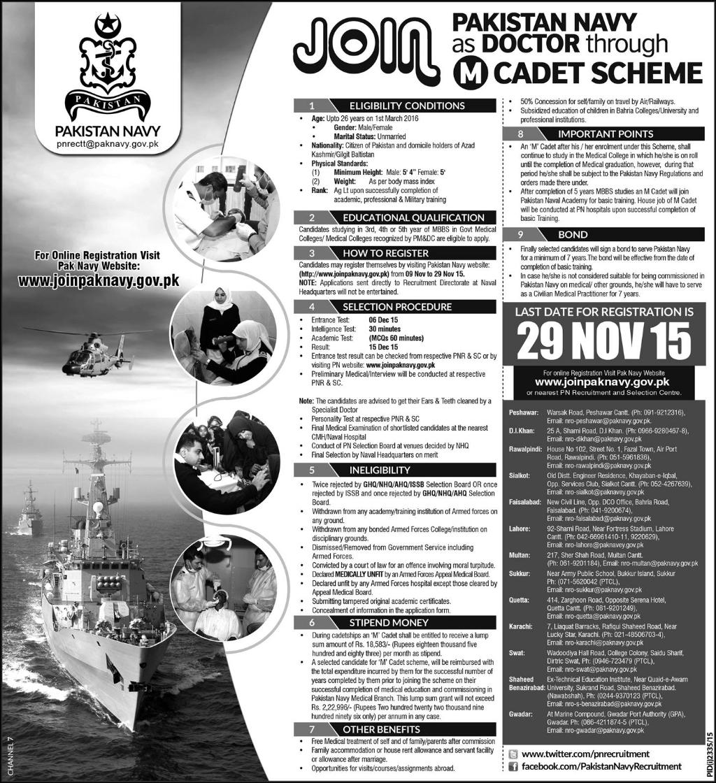 Join Pakistan Navy as Doctor Through M Cadet Scheme 2015