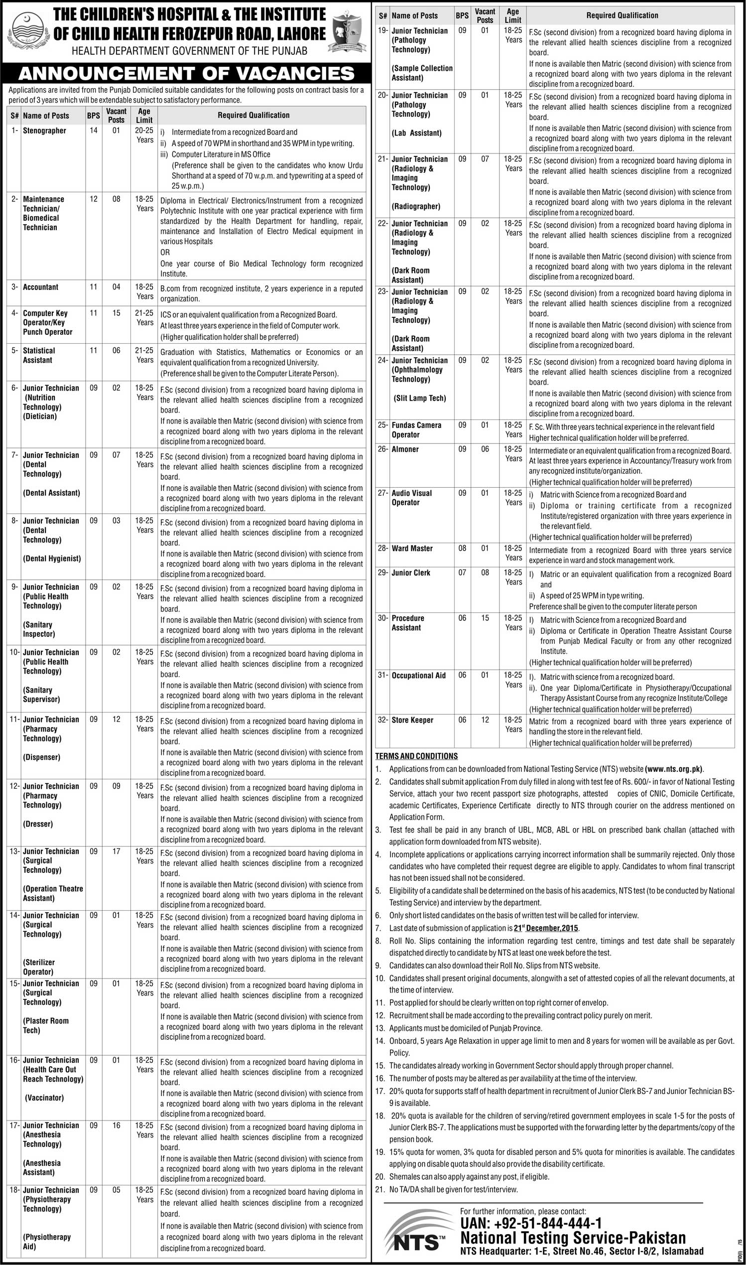 Health Department Punjab  jobs in Children Hospital Lahore