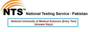NTS NUMS Entry Test Answer Key Result 2017