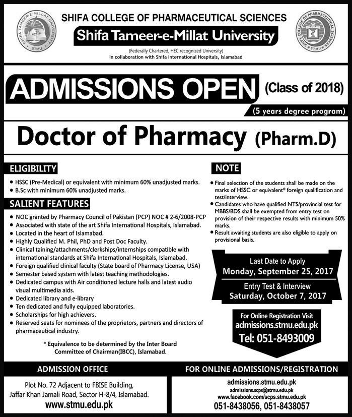 Shifa College of Pharmaceutical Sciences Pharm.D Admission 2018