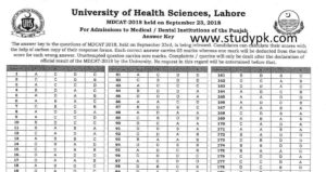 UHS MDCAT Answer Key 2018 www.uhs.edu.pk updated