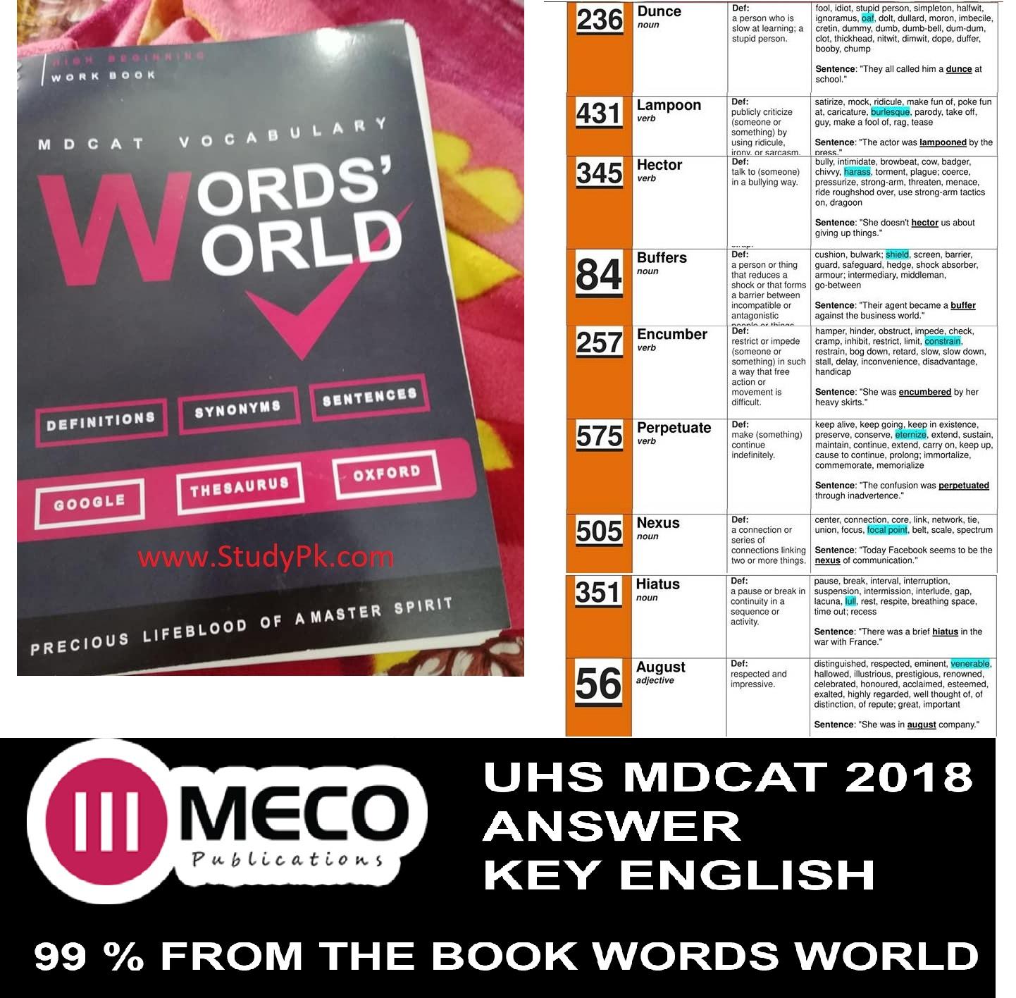 UHS MDCAT Answer Key 2018